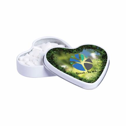 Wit hartenblikje met logo vulling hartjespepermunt voor Valentijn