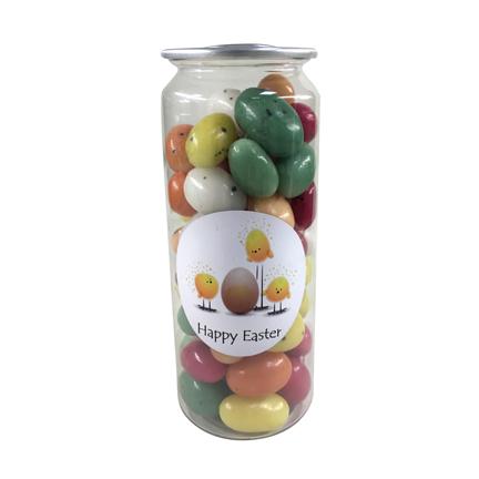 Bedrukt paaspotje met suikereitjes als kadootje voor Pasen