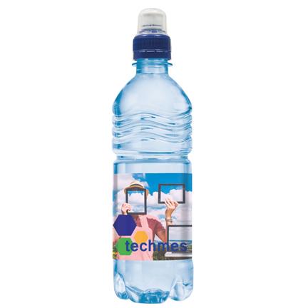 Blauwe waterfles met sportdop en eigen label om weg te geven