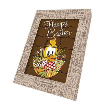 Chocoladepuzzel met Paasbedrukking om kado te geven voor Pasen aan relaties