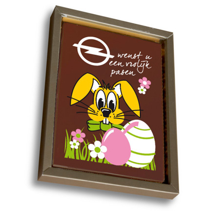 Chocolade paaskaart met logo als paasgeschenk voor klanten