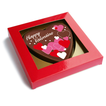 Gepersonaliseerd chocoladehart weggeven voor Valentijn aan klanten