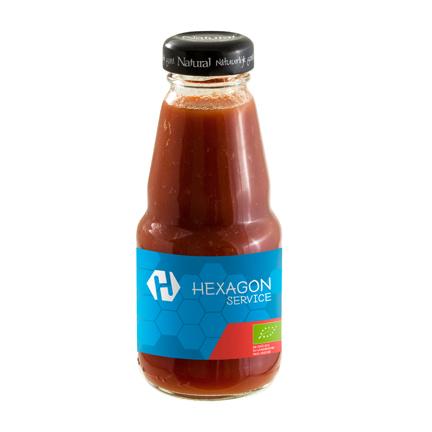 Gezond flesje biologische tomatensap bedrukt met logo als give-away