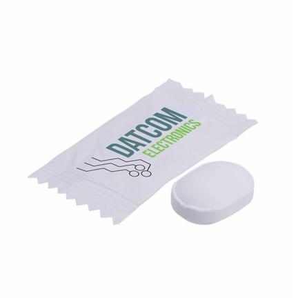 Bedrukte flowpack pepermunt als frisse vulling van uw gepersonaliseerde snoeppot
