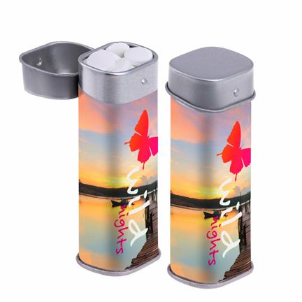 Bedrukt hoog pepermuntblikje met full colour label als fris weggevertje