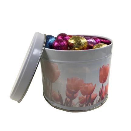 Bedrukt blik met paaseitjes als paasgeschenk voor Pasen