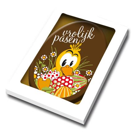 Chocoladekaart vorm paasei om klanten een vrolijk Pasen te wensen
