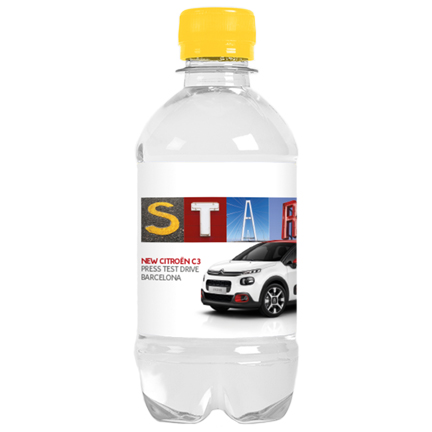 Bedrukt waterflesje met eigen label als weggevertje aan klanten