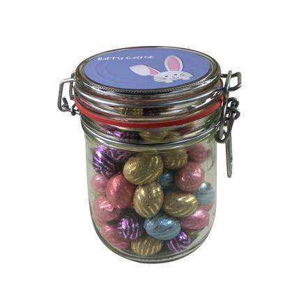 Bedrukte snoeppot met paaseitjes voor Pasen als relatiegeschenk