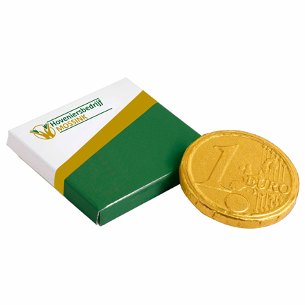 Gepersonaliseerd doosje met chocolade euromunt als beursweggevertje