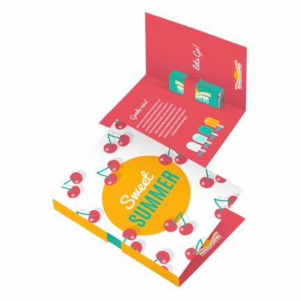 Bedrukte vouwkaart met fris pepermuntpakje als weggevertje