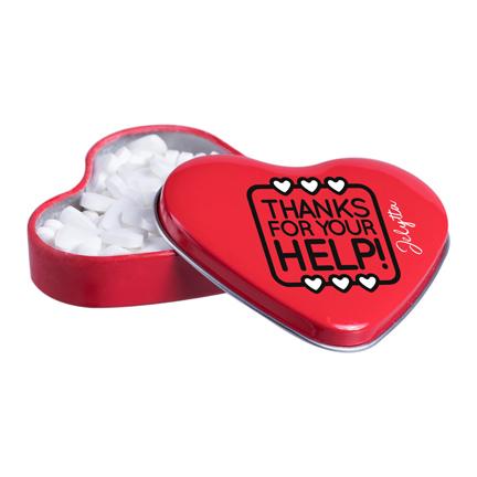 Hartenblikje met hartjes pepermunt voor Dag van de Zorg