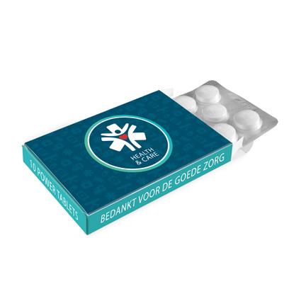 Bedrukt medicijndoosje met pepermunt voor Dag van de Zorg
