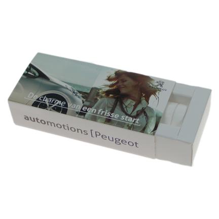 Gepersonaliseerd schuifdoosje pepermunt als fris bedankje voor Peugeot klanten