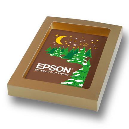 Wens uw klanten een fijne Kerst met een chocolade Kerstkaart met logo