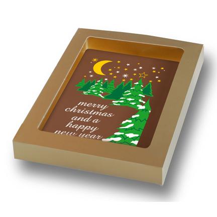 Bedrukte chocoladekaart met kerstwens weggeven aan klanten voor Kerst