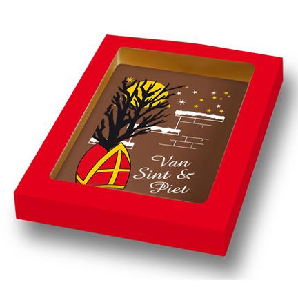 Chocoladekaart voor Sinterklaas weggeven aan klanten