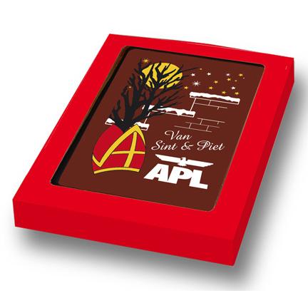 Chocoladekaart met bedrijfslogo als Sinterklaasgeschenk voor relaties