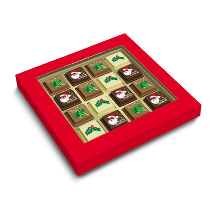 Doos chocolade Kerstbonbons als relatiegeschenk met Kerst