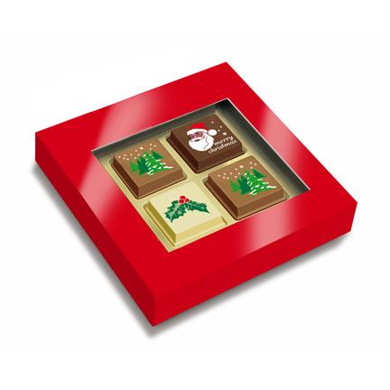 Doosje chocolade Kerstbonbons als relatiegeschenk met Kerst