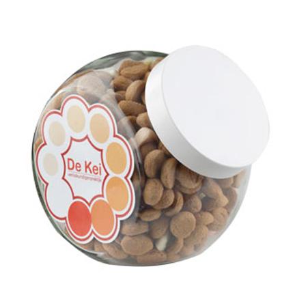 Bedrukte snoeppot met pepernoten als eindejaarsgeschenk voor klanten