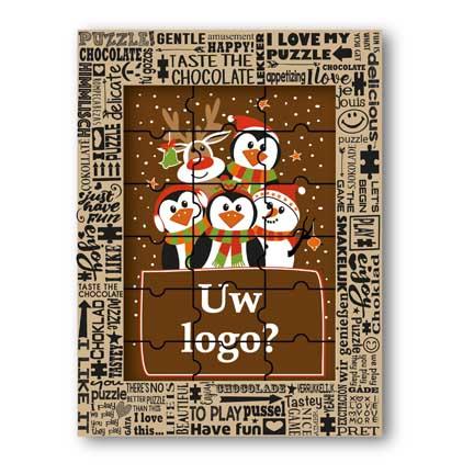 Chocolade kerstpuzzel met logo als relatiegeschenk met Kerst