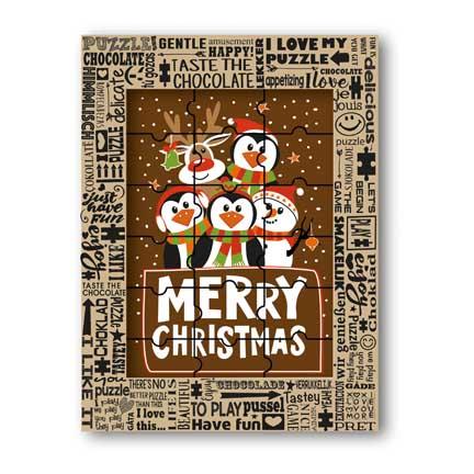 Chocolade kerstpuzzel als relatiegeschenk met Kerst voor klanten