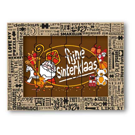 Chocolade Sintpuzzel als relatiegeschenk met Sinterklaas