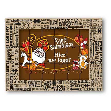Chocolade Sintpuzzel met logo als relatiegeschenk met Sinterklaas