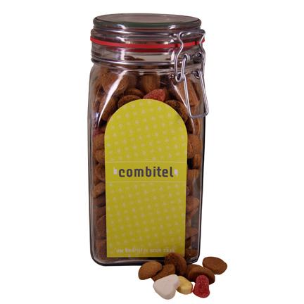 Bedrukte snoeppot met strooigoed als eindejaarsgeschenk voor klanten