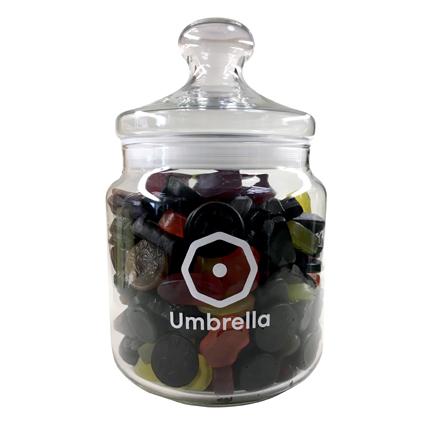 Gepersonaliseerde snoeppot met bedrijfslogo rechtstreeks op het glas gedrukt