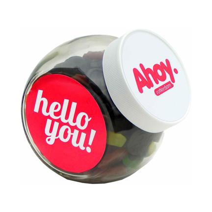 Glazen snoeppot met logo als relatiegeschenk of bedankje
