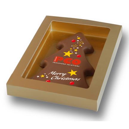 Chocoladeplak vorm kerstboom met logo als Eindejaarsgeschenk