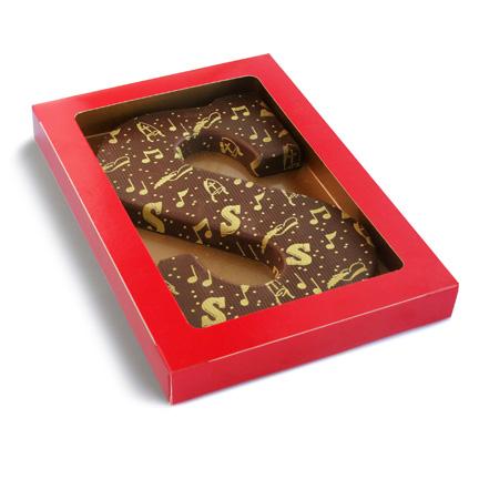 Decoratie chocoladeletter met of zonder logo als kadootje voor Sinterklaas