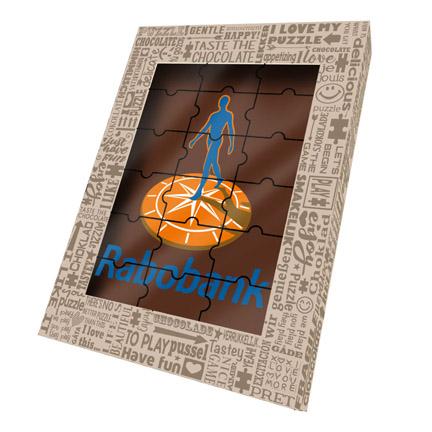 Chocoladepuzzel met logo als Kerstgeschenk voor klanten
