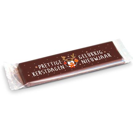 Chocoladereep met kerst- en nieuwjaarswens voor klanten