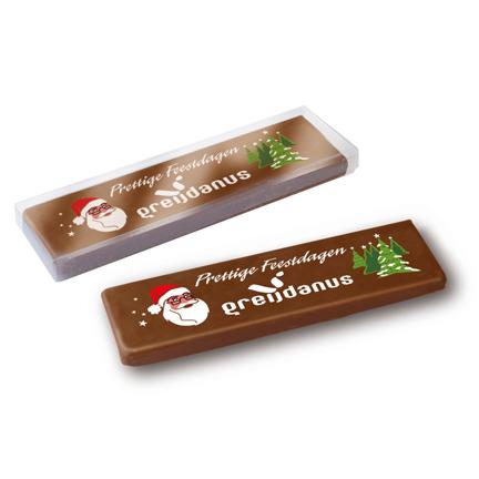 Chocoladereep met logo als smaakvolle give-away voor Kerst