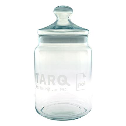 Luxe glazen Snoeppot met logo gegraveerd als relatiegeschenk