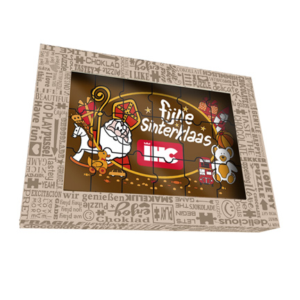 Sinterklaas chocoladepuzzel met bedrijfslogo als cadeau voor klanten
