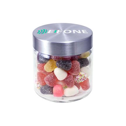Stoer snoeppotje met rechtstreeks bedrukte deksel als bedankje voor klanten