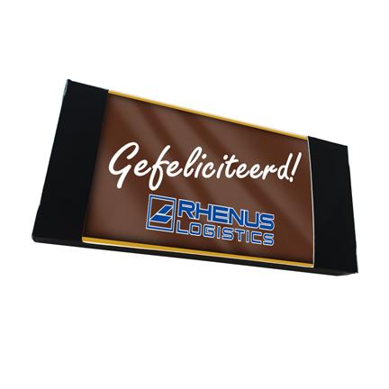 Gepersonaliseerde chocoladeplak met logo als smaakvol bedankje