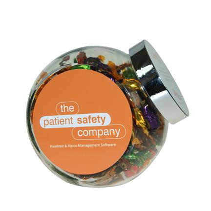 Snoeppot met logo gevuld met feestelijke toffees als eindejaarsgeschenk voor klanten