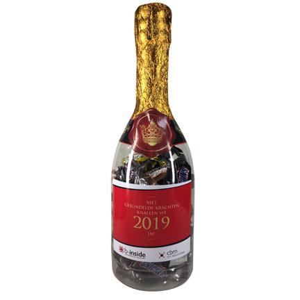 Kunststof Champagnefles Celebrations met logo als smaakvol relatiegeschenk