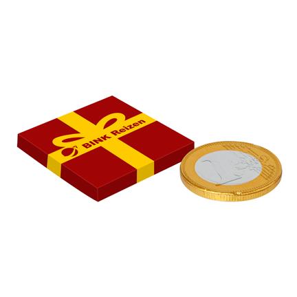 Bedrukt doosje met logo en chocolademunt als give-away