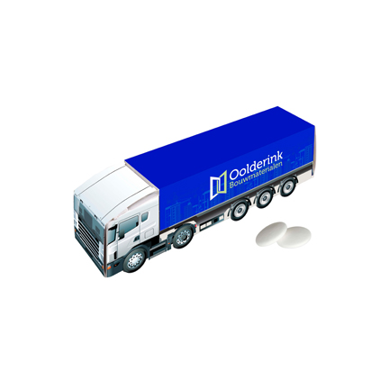 Truck met logo gevuld met frisse pepermunt als give-away