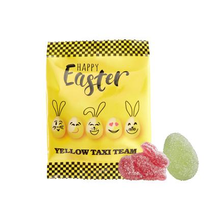 Bedrukt Paas snoepzakje met paassnoep voor Pasen