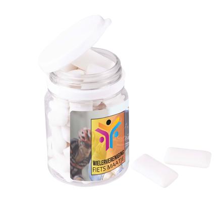 Kauwgom Snoeppotje met logo als fris bedankje voor klanten