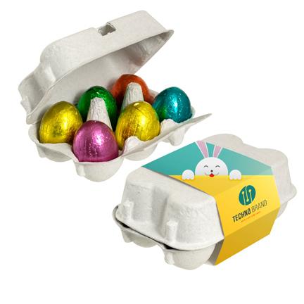 Bedrukt doosje Paaseitjes met logo als weggevertje voor Pasen