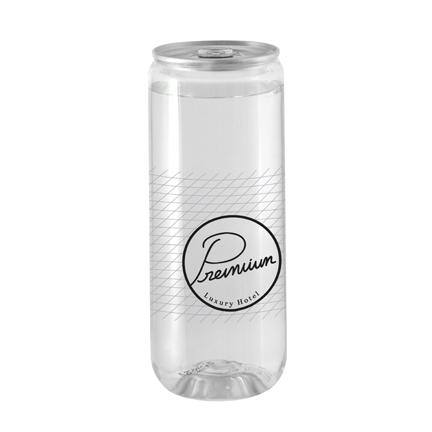 Transparant blikje bronwater met logo als dorstlessend promotiemateriaal