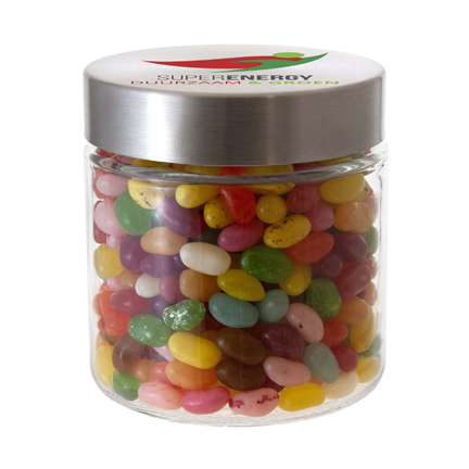 Snoeppot jelly beans met logo als smaakvol relatiegeschenk